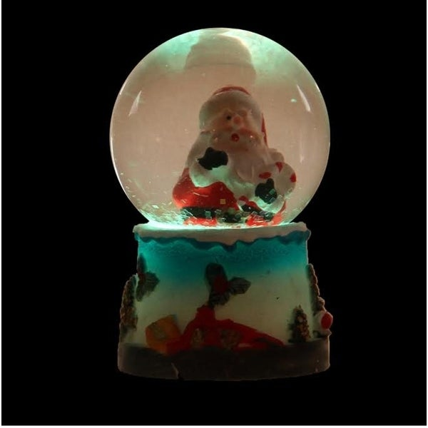 "2.75"" Red and White Santa Claus and Candy Cane LED Lighted Christmas Snow Globe Glitterdome"