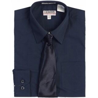 Gioberti Little Boys Navy Solid Color Shirt Tie Formal 2 Piece Set