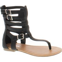 Soda Ronald Women's T-Strap Caged Buckled Flat Thong Sandals One Size Bigger - Black