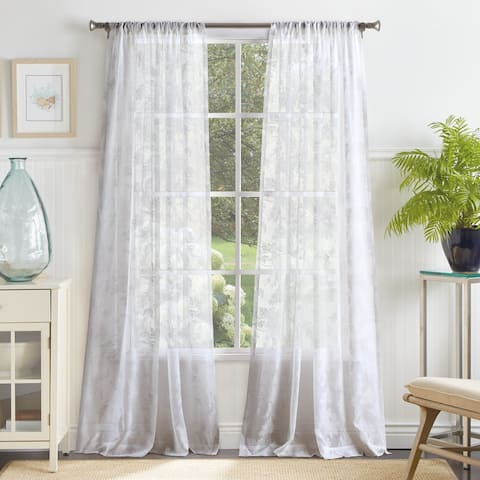 Martha Stewart Aster Acanthus Semi-Sheer Window Curtains - Panel Pair or Valance