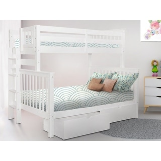 Link to Taylor & Olive Trillium White Wood Twin-over-Full Bunk Bed with Drawers Similar Items in Kids' & Toddler Beds