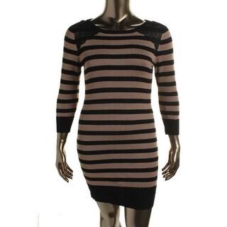 BCX Womens Juniors Sweaterdress Lace Trim Striped