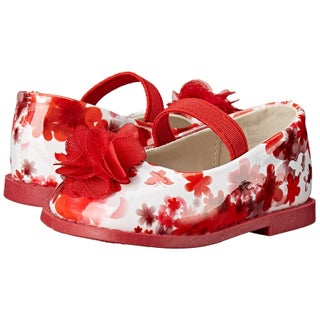 Rugged Bear Girls RB24607 Bungee Mary Jane Flats, Red Floral, Size 3Toddler US - 3toddler us