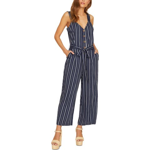 Sanctuary Womens Blue Horizon Jumpsuit Striped Sleeveless - Black Iris Stripe
