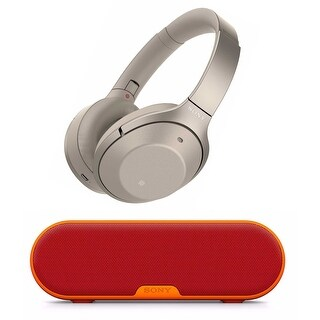 Sony Wireless Noise Cancelling Headphones (Gold) with Portable Speaker (Red)