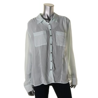 Guess Womens Sheer Chest Pockets Button-Down Top - L