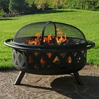 Large 36 inch Black Crossweave Fire Pit Metal Wood Burning w Tools