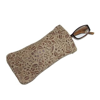 CTM® Women's Leather Floral Print Eyeglass Holder and Case - One size