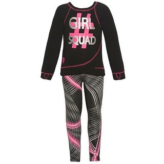 "Big Girls Neon Pink ""Girl Squad"" Print Mixed Stripes 2 Pc Pant Set"
