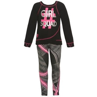 "Little Girls Neon Pink ""Girl Squad"" Print Mixed Stripes 2 Pc Pant Set"