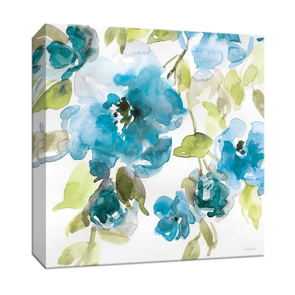 """PTM Images 9-147371 PTM Canvas Collection 12"""" x 12"""" - """"Belle's Blue I"""" Giclee Flowers Art Print on Canvas"""