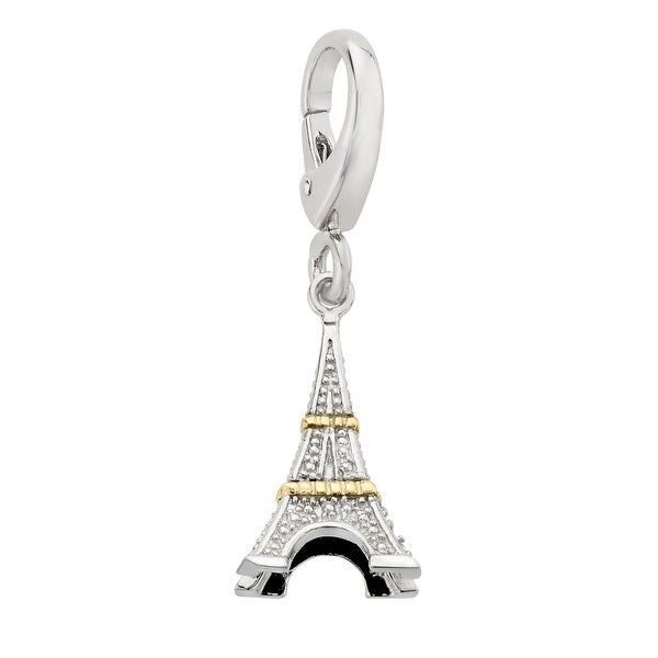 Eiffel Tower Charm with Diamonds in Sterling Silver & 14K Gold