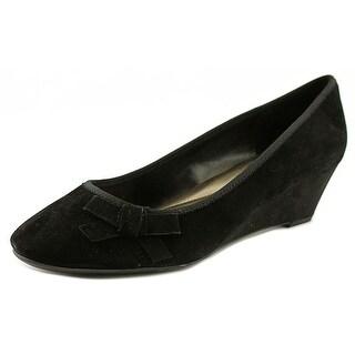 Easy Spirit 7 Shyma Women W Open Toe Suede Black Wedge Heel