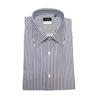 Valentino Men's Slim Fit Cotton Dress Shirt White Navy Pinstriped