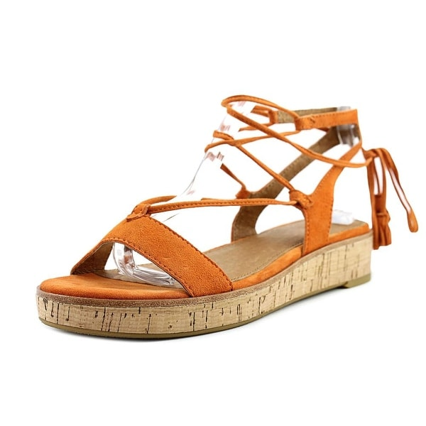 Frye Miranda Gladiator Women Open Toe Suede Orange Gladiator Sandal