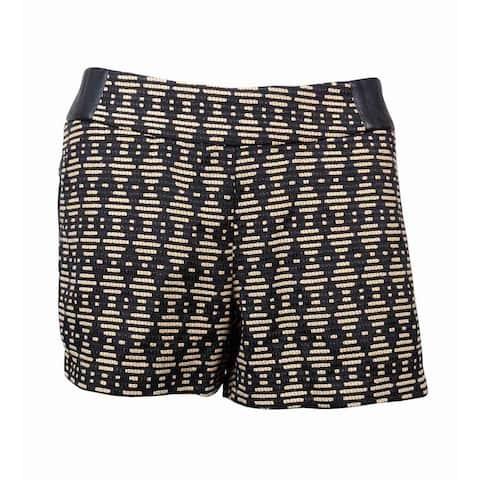 Kensie Women's Geometric Diamond Print Shorts - Black/Tan - M