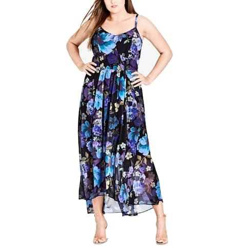 555b1fb758 City Chic Womens Plus Floral Smocked-Waist Maxi Dress