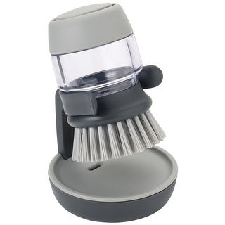 Joseph Palm Scrub Soap Dispensing Brush with Storage Stand,Gray