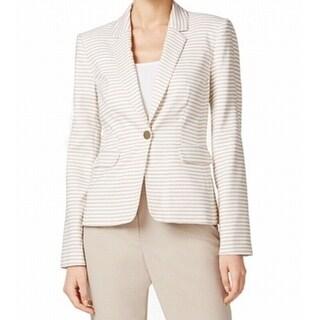Calvin Klein NEW Beige Women's Size 0 Striped Notch-Collar Blazer