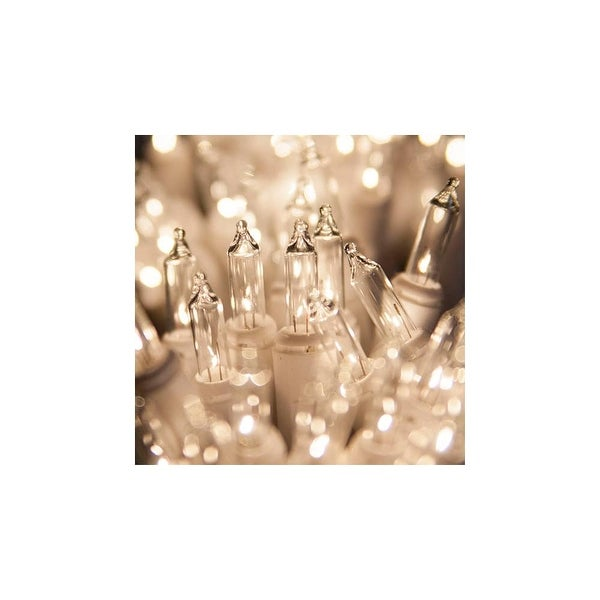 """Wintergreen Lighting 15204 50.5' Long Indoor Standard 100 Mini Light Holiday Light Strand with 6"""" Spacing and White Wire"""