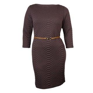 Signature Women's Belted Textured Knit Dress - Plum