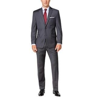 Michael Kors Mens Classic-Fit Grey Grid Suit 47 Regular Flat Front Pants 37W