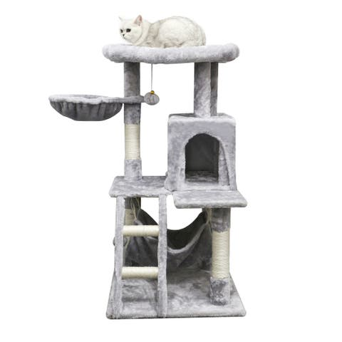 """41""""Cat Tree Cat Tower for Indoor Cats, Multi-Level Cat House Condo with Large Perch, Scratching Posts & Hammock,"""