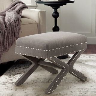 Copper Grove Navoiy X-cross Cushioned Upholstered Accent Stool