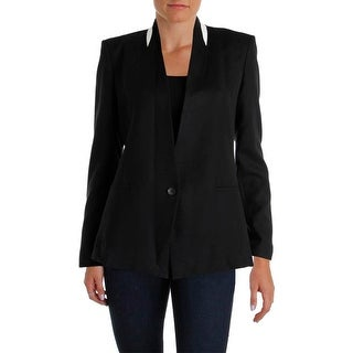 Helmut Lang Womens Wool Blend Leather Trim One-Button Blazer