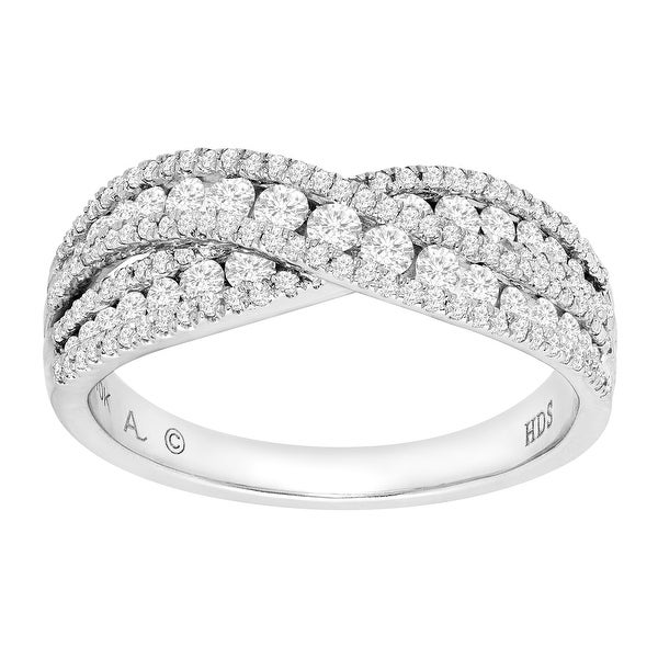 1 ct Diamond Crossed Band Ring in 10K White Gold