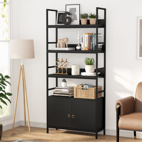 Bookcase with Door, Bookshelf with Storage CabinetDisplay Shelf
