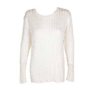 Lauren Ralph Lauren Cream Cable-Knit Crew Neck Sweater L