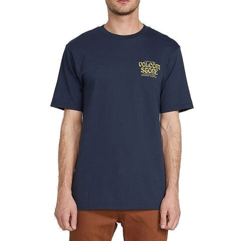 Volcom Mens T-Shirt Blue Yellow Small S True To This Graphic Tee Crewneck 061