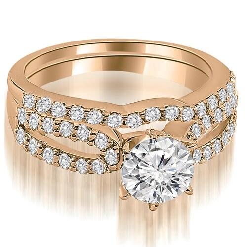 1.14 cttw. 14K Rose Gold Exquisite Split Shank Round Diamond Bridal Set
