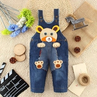 Baby boy pants thick cotton denim overalls children winter models
