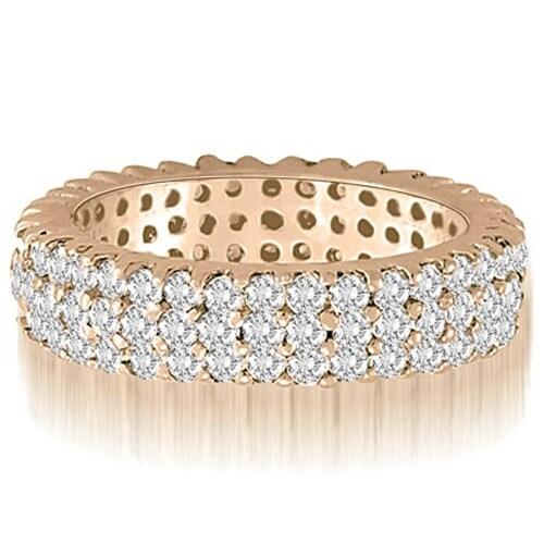 2.20 cttw. 14K Rose Gold Three-Row Round Cut Diamond Wedding Eternity Band
