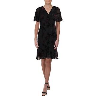 Link to Lauren Ralph Lauren Womens Petites Oleander Cocktail Dress Chiffon Burnout - Grey/Cordovan Similar Items in Petites