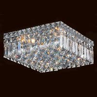 """Worldwide Lighting W33516C12 Cascade 4-Light 12"""" Wide Flush Mount Ceiling Fixture in Chrome with Clear Crystals - n/a"""