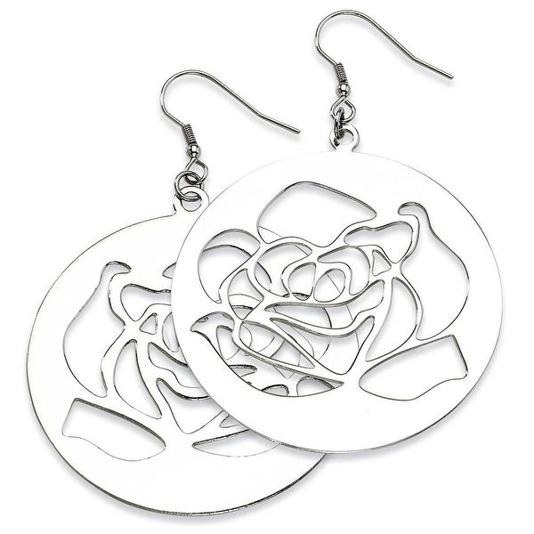 Chisel Stainless Steel Rose Cutout Dangle Earrings