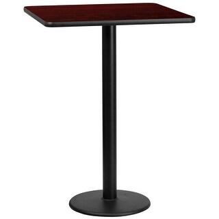 "Dyersburg 30'' Square Mahogany Laminate Table Top w/42"" High Round Base"