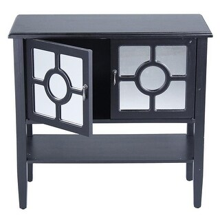 Hampton 2-Door Console Cabinet with Lattice Mirror Inserts & Shelf