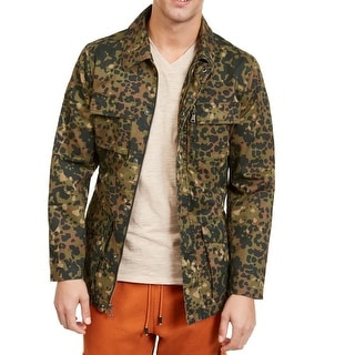 INC Mens Jacket Green Size Small S Jesse Field Camo-Print Belted