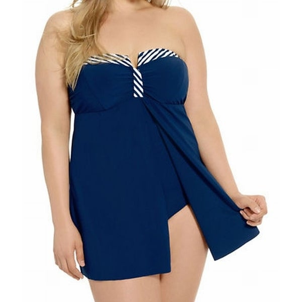 c2ed3cca063242 Shop Christina NEW Blue Women's Size 2X Plus Striped Swimdress Swimwear -  Free Shipping On Orders Over $45 - Overstock - 20032591
