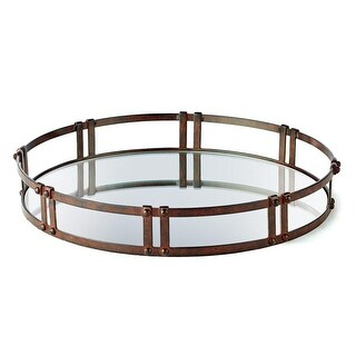 18.25 Spanish Style Tray with Antique Look Rust and Rippled Glass