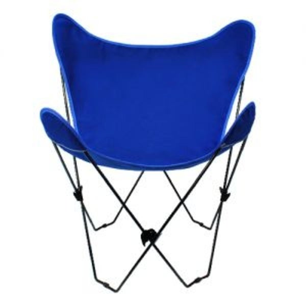 35âu20ac Retro Style Outdoor Patio Butterfly Chair With Royal Blue Cotton Duck  Fabric Cover