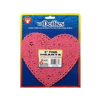 "Hygloss Paper Lace Doilies Heart 6"" 36pc Pink"