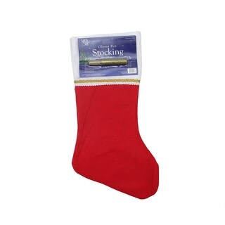 """19"""" Traditional Red Customizable Christmas Stocking with Gold Glitter Pen"""