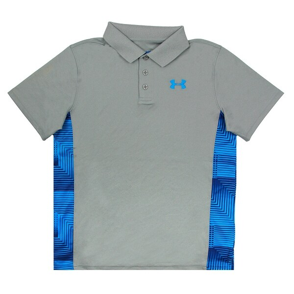 922f7c3d1 Shop Under Armour Boys' Printed Match Play Polo - True Grey/Blue Contrast -  XL - Free Shipping On Orders Over $45 - Overstock.com - 27300118