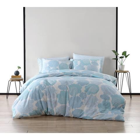Marimekko Pioni Cotton Reversible Blue Comforter Set