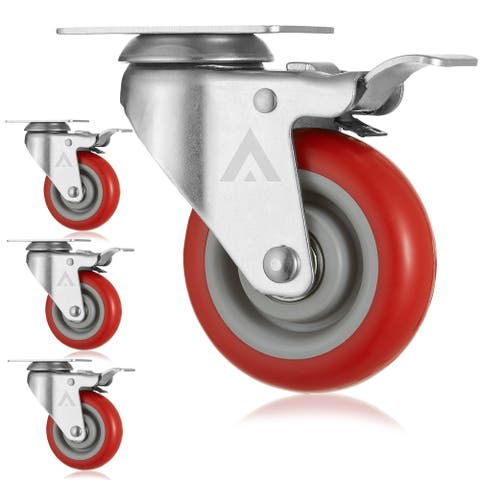 Heavy Duty Swivel Casters with Locking Brakes (Set of 4) - AmeriGrip